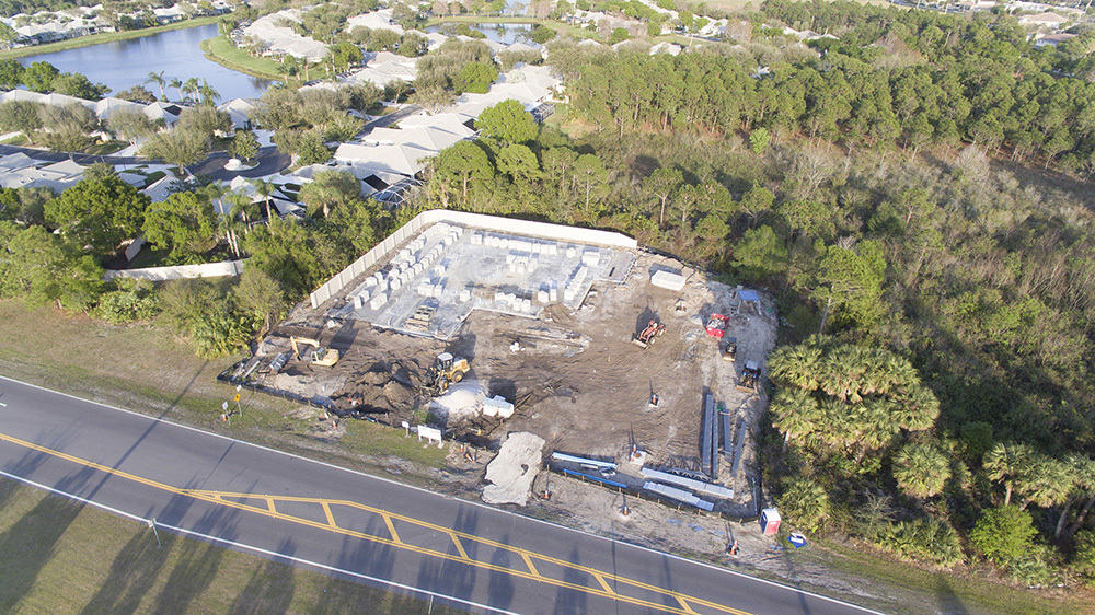 An aerial view of the build site for Guardian Veterinary Medical Center